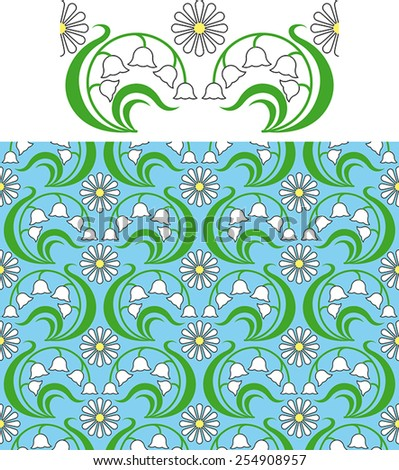 seamless floral pattern of lily