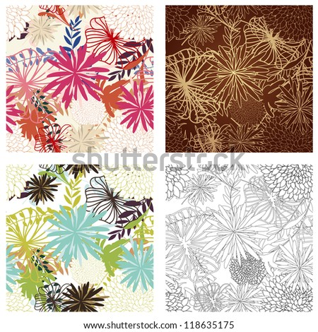 Seamless  floral  pattern set in different color. For easy making seamless pattern just drag all group into swatches bar, and use it for filling any contours. Fully editable EPS 8 vector illustration.