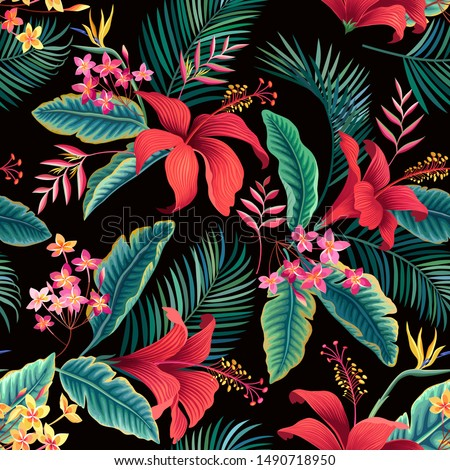 seamless floral pattern. tropical leaves and red hibiscus
