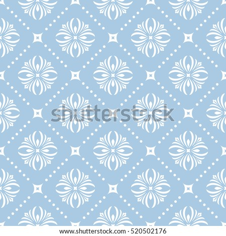 Seamless floral pattern. Vector blue and white background. Graphic modern pattern