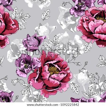 seamless floral pattern violet
