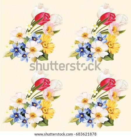 seamless floral pattern white