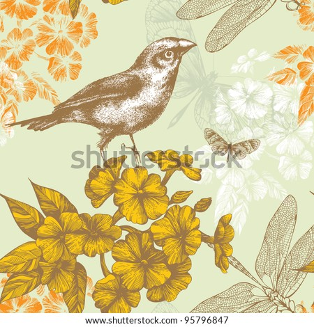 Seamless floral pattern with a bird flying butterflies and dragonflies. Hand drawing. Vector.