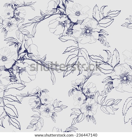 Seamless floral pattern with a blossoming branch of wild rose Vector Illustration