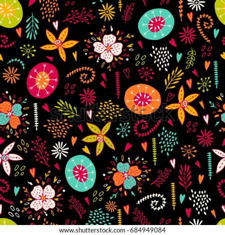 Seamless floral pattern with abstract plants.