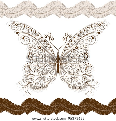 Seamless floral pattern with big vintage brown butterfly (vector)