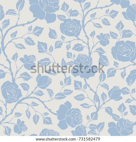 Seamless floral pattern  with  blue roses. Vector monochrome background for textile, print, wallpapers, wrapping.