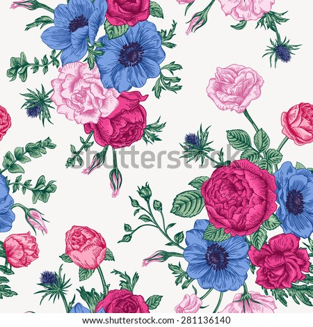 Seamless floral pattern with bouquet of colorful flowers on a white background. Roses, anemones, eustoma.
