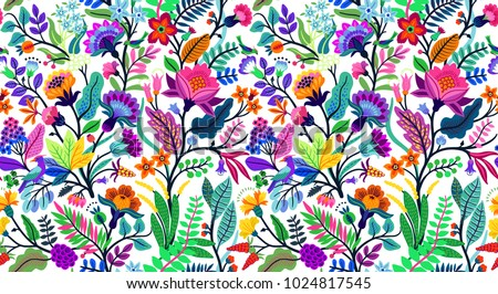 Seamless floral pattern with bright colorful flowers and tropic leaves on a white background. The elegant the template for fashion prints. Modern floral background. Trendy Folk style. #1024817545