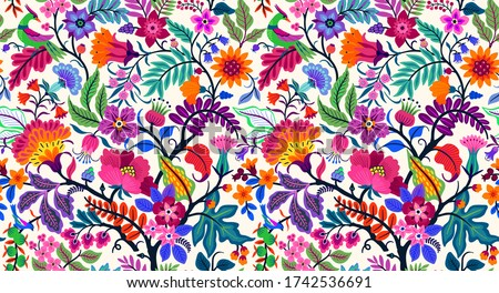 Seamless floral pattern with bright colorful flowers and tropic leaves on a white background. The elegant the template for fashion prints. Modern floral background. Trendy Folk style. Foto stock ©