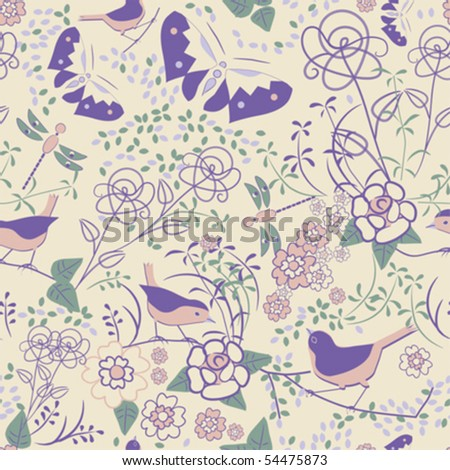 Seamless floral pattern with butterflies and dragonflies; vector format