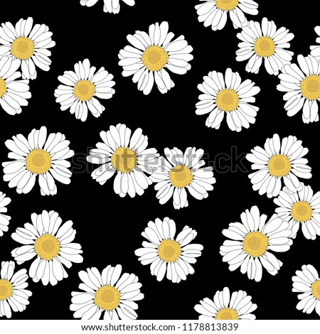 Seamless floral pattern with chamomile or daisy flowers.