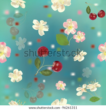 Seamless floral pattern with cherry berries and flowers