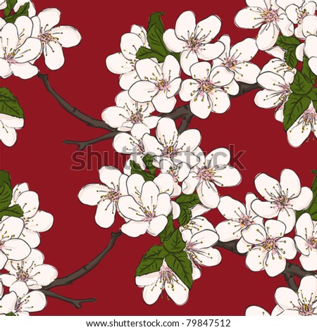 Seamless floral pattern with cherry flowers. Vector