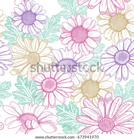 Seamless floral pattern with chrysanthemum flowers and leaves. Hand drawn sketch illustration