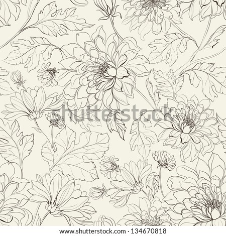 Seamless floral pattern with chrysanthemums. Vector illustration.