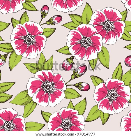 Seamless floral pattern with detailed colorfull vintage flowers and buds