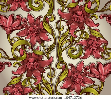 Seamless floral pattern with flowers leaves and branches, Victorian style vector repeat background.