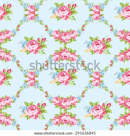 Seamless floral pattern with garden pink roses and forget-me