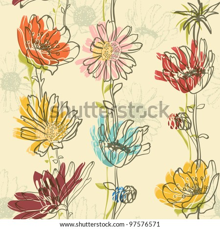 Seamless Floral Pattern With hand-drawn flowers