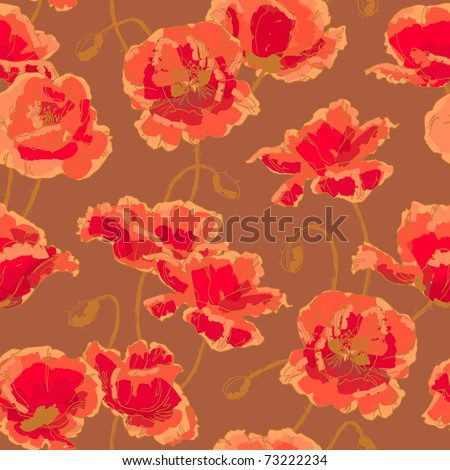 Seamless floral pattern with hand-drawn poppy flower