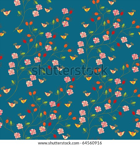 Seamless floral pattern with hips and birds