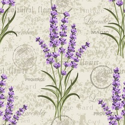 Seamless floral pattern with lavenders on vintage postcard background. Vector illustration.