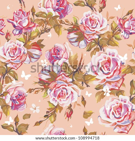Seamless floral pattern with leaves, flowers and butterfly. Elegance wallpaper with of pink roses on floral background, vector illustration.