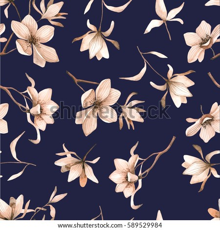 seamless floral pattern with magnolies in watercolor style