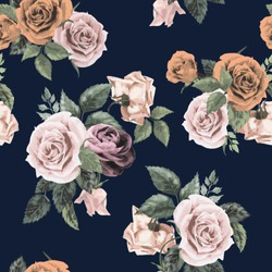 Seamless floral pattern with of roses on dark background, watercolor. Vector illustration.