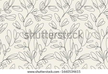 Seamless floral pattern with one line flowers. Vector hand drawn illustration. Stock photo ©