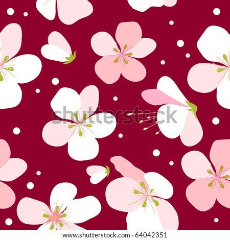 Seamless floral pattern with pink cherry flowers