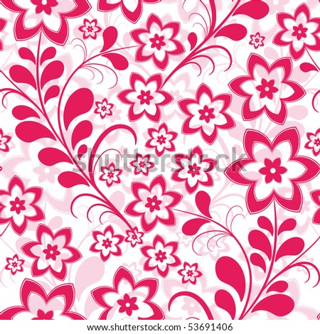 Seamless floral pattern with pink curls and flowers (vector)