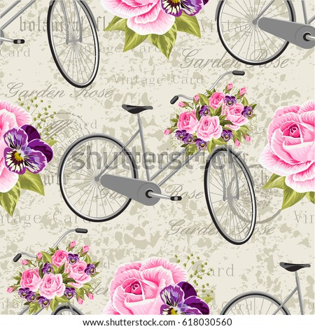 Seamless floral pattern with pink roses and gray bicycle. Vector illustration.