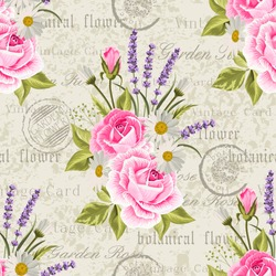 Seamless floral pattern with pink roses and lavenders on vintage postcard background. Vector illustration.