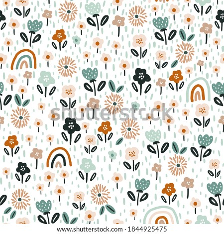 Seamless floral pattern with rainbows. Creative blooming texture. Great for fabric, textile Vector Illustration
