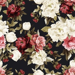 Seamless floral pattern with roses on dark background, watercolor. Vector illustration.