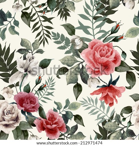 Seamless floral pattern with roses on light background, watercolor. Vector illustration.