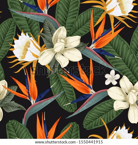 Seamless floral pattern with tropical flowers on dark background. Template design for textiles, interior, clothes, wallpaper. Vector illustration.  Botanical art.  Engraving style