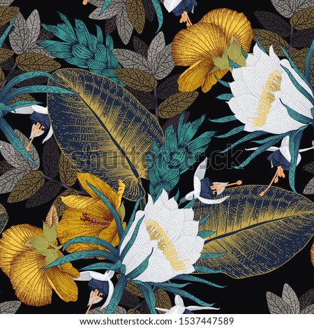 Seamless floral pattern with tropical flowers. Template design for textiles, interior, clothes, wallpaper. Vector illustration.  Botanical art.  Engraving style