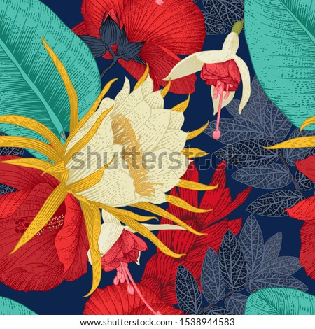 Seamless floral pattern with tropical flowers. Vector illustration.  Botanical art.  Engraving style