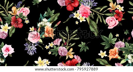 Seamless floral pattern with tropical flowers, watercolor. Vector illustration.