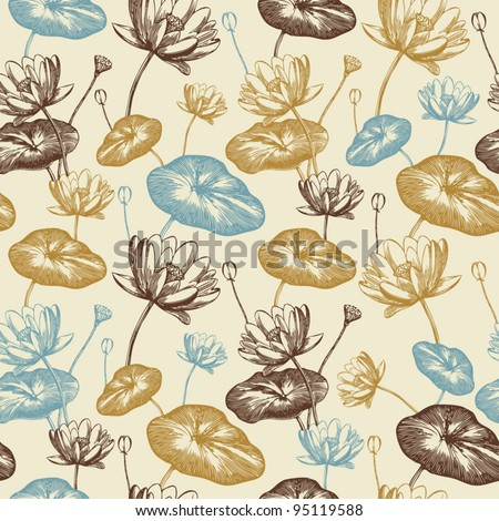 Seamless floral pattern with water lilies