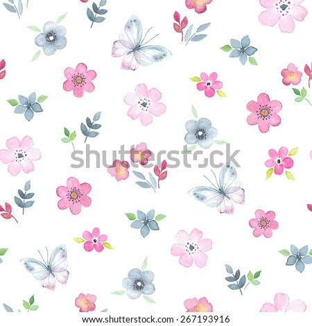 stock-vector-seamless-floral-pattern-with-watercolor-flowers-and-butterflies-in-vintage-style