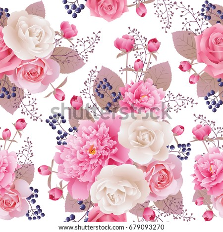 Seamless floral pattern with white, pink roses and peonies.Background for web pages, wedding invitations, save the date cards. Flower vector background. EPS 10 vector.