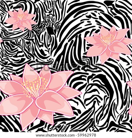 Seamless floral pattern with zebra print