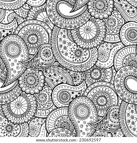 Seamless floral retro background pattern in vector. Henna paisley mehndi doodles design  pattern. Used clipping mask for easy editing.