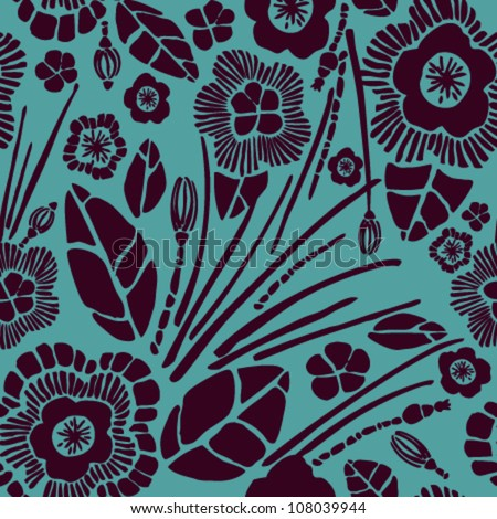 Seamless Floral Rich Pattern Velvet Effect Texture With