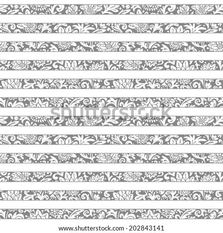 Seamless floral striped pattern. Vector monochrome background. Abstract texture with flowers.  #202843141