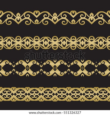 Seamless floral tiling border. Inspired by old ottoman and arabian ornaments. Gold color on black background #551326327